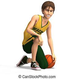 coupure, basket-ball, caractère, jeune, clothesrwith,...