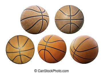 coupure, basket-ball, isolé, fond, blanc, path.