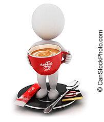 coupure, blanc, 3d, café, gens