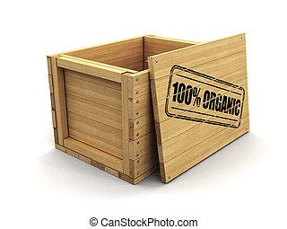 coupure, bois, 100%, caisse, organic., timbre, sentier, image