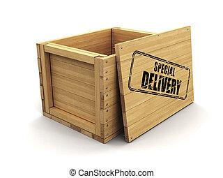 coupure, bois, image, caisse, delivery., timbre, sentier, spécial