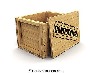coupure, bois, image, caisse, timbre, sentier, confidential.