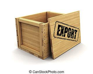 coupure, bois, image, caisse, timbre, sentier, export.