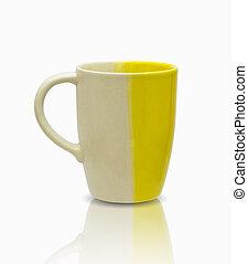 coupure, céramique, isolé, mug., sentier, blanc