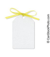 coupure, cadeau, attaché, étiquette, jaune, sentier, ruban