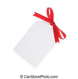 coupure, cadeau, bow(with, étiquette, blanc, path), rouges