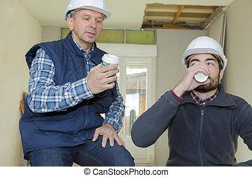 coupure, café, constructeurs, avoir