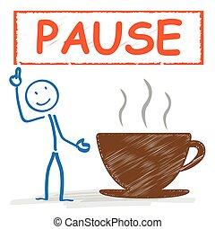 coupure, café, stickman, tasse