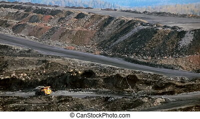 coupure, camion, promenades, panorama, charbon