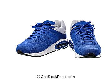 coupure, chaussures, fond, sentier, blanc, sport