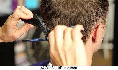 coupure, cheveux, équipe, coiffeur, femme, utilisation, ciseaux