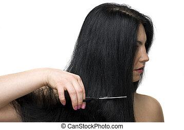 coupure cheveux, long