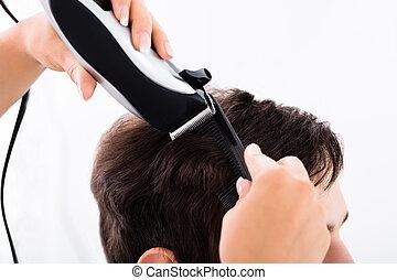 coupure cheveux, personne, coiffeur