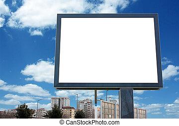 coupure, -, ciel, nuageux, inclure, vide, panneau affichage, sentier