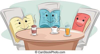 coupure, club, livres, café, mascotte, livre