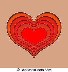 coupure, coloré, formulaire, profond, valentin, étendre, papier, cœurs, dehors