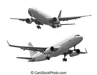 coupure, commercial, isolé, avion, fond, sentier, blanc