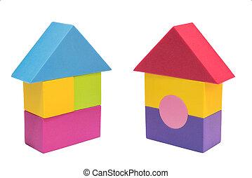 coupure, concept, blocs, coloré, chambre maison, symbole, jouet, fond, isolement, sentier, blanc, signe, logo
