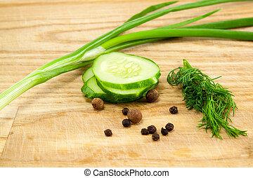 coupure, concombre, planche
