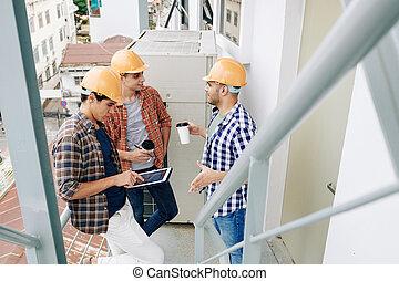 coupure, construction, avoir, ouvriers