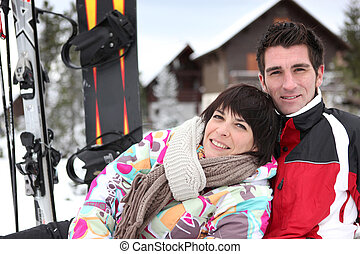 coupure, couple, hiver, snowboarders