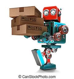 coupure, courrier, package., isolated., contient, robot, livrer, livraison, sentier