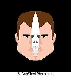 coupure, crâne, intérieur, anatomie, peau, head., face.