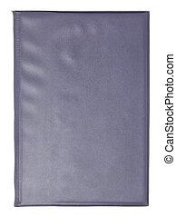coupure, cuir, couverture, isolé, livre, sentier, blanc