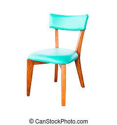 coupure, cuir, isolé, vert, sentier, chaise, blanc