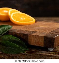 coupure, découpage, board., bois, oranges, orange