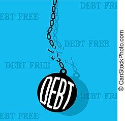 coupure, dette, balle, chaîne métal