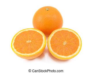 coupure, deux, juteux, moitiés, orange, entier