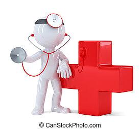 coupure, docteur, isolated., contient, sentier, stethoscope.