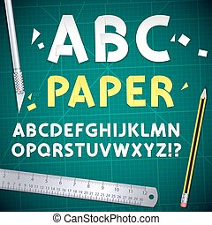 coupure, ensemble, alphabet, équipement, papier, dehors