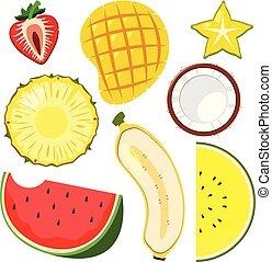 coupure, ensemble, fruit, moitié