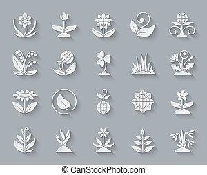 coupure, ensemble, jardin, icônes, simple, papier, vecteur