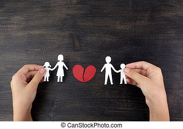 coupure, famille, concept, fmily, mains, divorce., cassé, papier, enfant