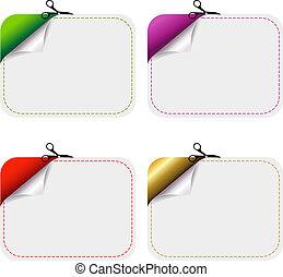 coupure, feuille, coupon, blanks, papier, publicité
