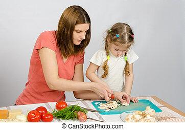 coupure, fille, champignons, comment, maman, petit, couteau, Spectacles