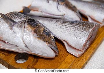 coupure, fish, découpage, dorado, moitié, couteau, planche