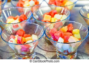 coupure, fruit, lunettes