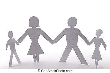 coupure, gens, famille quatre, debout, tenant mains
