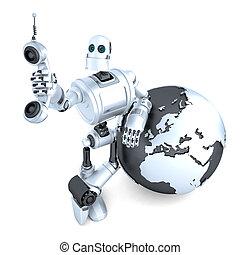 coupure, globe., tablette, isolated., communication, tube, global, robot, téléphone, la terre, sentier, concept.