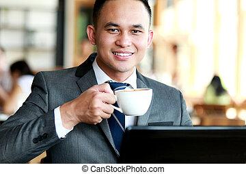 coupure, homme affaires, café, avoir