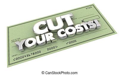 coupure, illustration, chèque, coûts, mots, factures, ton, 3d