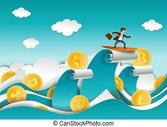 coupure, illustration, surfeur, cryptocurrency, vecteur, papier