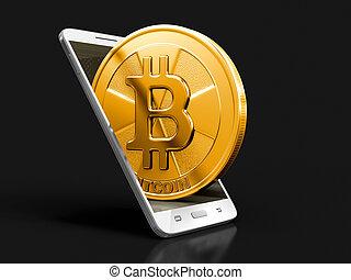 coupure, image, téléphone, bitcoin., sentier, intelligent