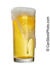 coupure, isolé, bière, path., fond, verre, blanc