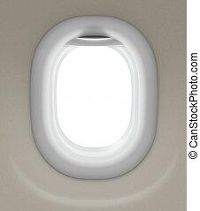 coupure, isolé, fenêtre, included, sentier, avion