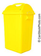 coupure, isolé, fond jaune, blanc, déchets ménagers, path.